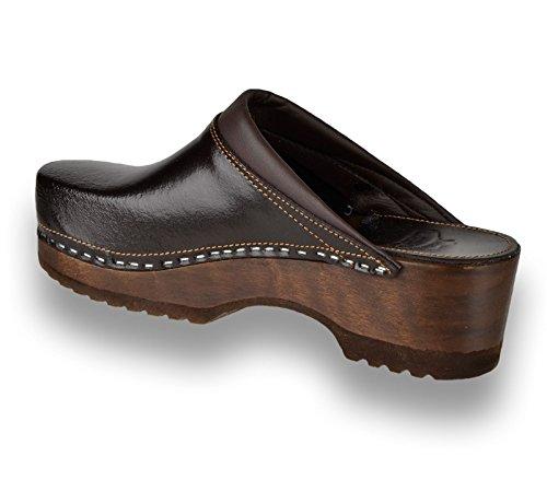 Zapatos De Para B4 Zuecos Marrón Zapatillas Leon Mujer Cuero znCa6x