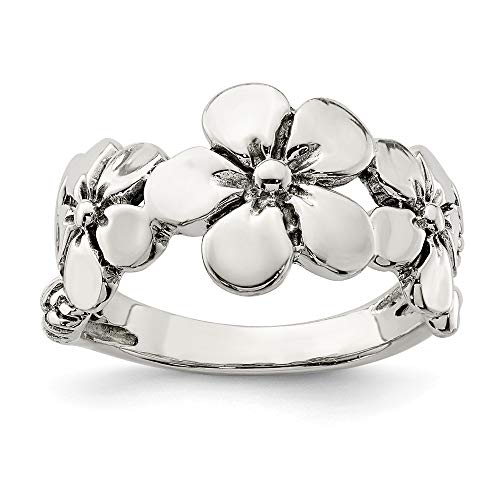 - 925 Sterling Silver/Flower Band Ring Size 7.00 Flowers/leaf Fine Jewelry Gifts For Women For Her