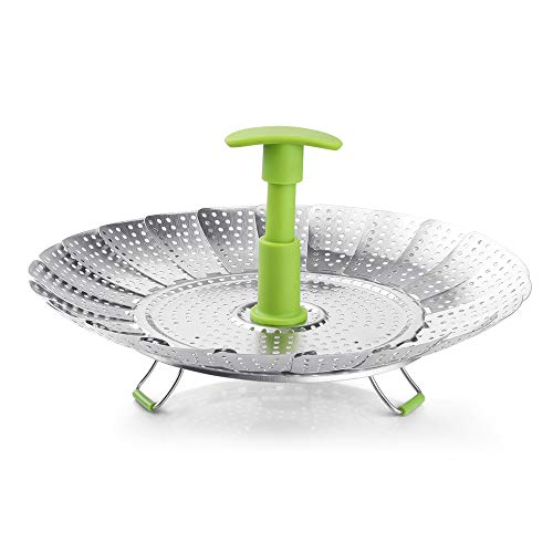 Steamer Basket, 7 inch-11 inch Zanmini Stainless Steel Vegetable Steamer Basket Foldable Steamer Insert with Extendable Handle for Veggie Fish Seafood Cooking, Expandable to Fit Various Size Pot