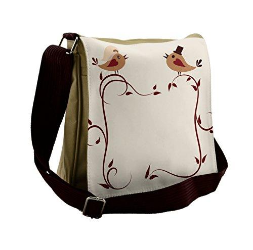 Lunarable Animals Messenger Bag, Wedding Announcement Birds, Unisex Cross-body by Lunarable
