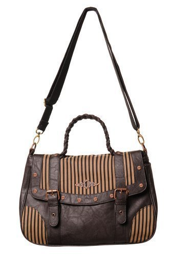 VIETATO INTREPID STEAMPUNK MARRONE NERO A RIGHE SERRATURA CASUAL BORSA A TRACOLLA BORSA