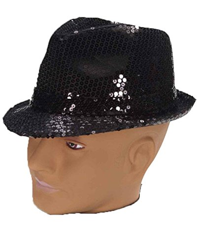 Forum Novelties 65954 Costume Sequin Fedora Hat, Black, One Size, Multi -