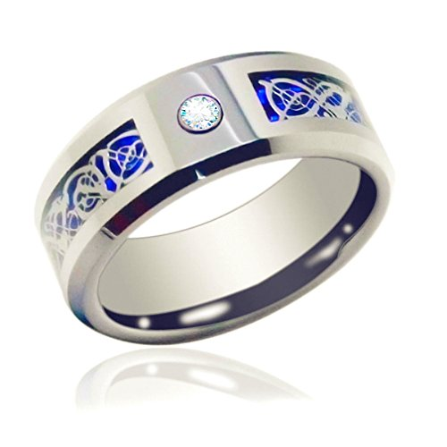(Gnex 6mm Tungsten Cubic Zirconia Wedding Band Blue Silver Celtic Dragon Inlay Couple Rings(7))