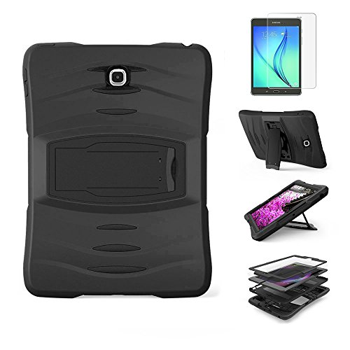 Gzerma Samsung Galaxy Tab A 8.0 Case Rugged, 3in1 Hybrid Hard Heavy Duty Case Kids Proof with Cover Rubber, Build-in Stand and Screen Protector, Full-Body Protective for SM-T350 8-inch Tablet, Black