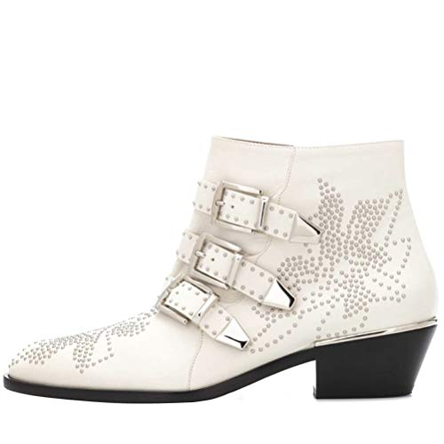 Themost Ankle Boots Womens Genunie Leather Rivet Studded Buckle Strap Designer Boot Low Heel Booties