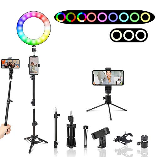 Upgrade RGB Desktop Ring Light with Tripod Stand and Mini Tripod,Dimmable Colourful Ring Light for TikTok/Live Stream/Makeup/YouTube Video, Compatible with iPhone/Android