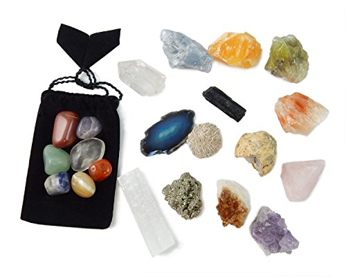 - 21 Healing Crystals and Chakra Kit: Amethyst, Selenite, Pyrite, Clear Quartz, Half Geode, Rose Quartz, Citrine, Desert Rose, Agate, Tourmaline and 4 Calcites (Red,Green,Blue,Orange) + 7 Chakra Stones