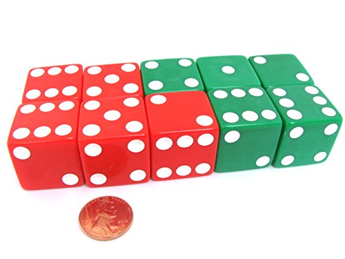 Set of 10 D6 25mm Large Opaque Jumbo Christmas Dice - 5 Each of Red and Green by Koplow Games ()