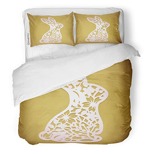 Semtomn Decor Duvet Cover Set Twin Size Laser Cut Easter Bunny Rabbit Floral Fancy Hare Pattern 3 Piece Brushed Microfiber Fabric Print Bedding Set Cover