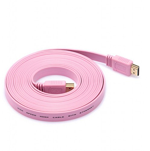 Lonve HDMI Noodle Cable Male to Male cable  Pink- Supports