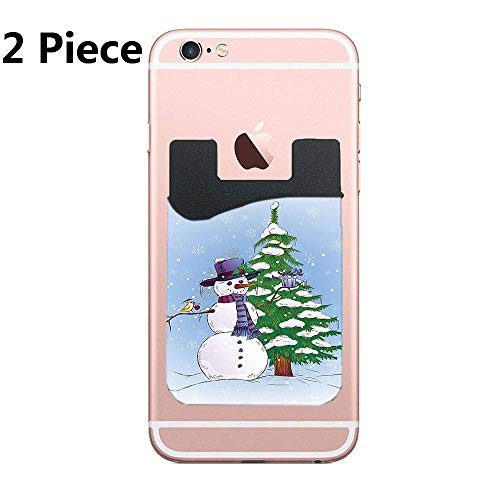 Snowman in Winter with Mistletoe Gift Phone Card Holder, ID Credit Card Wallet Phone Case Pouch Sleeve Pocket Compatible with Most of Smartphones(iPhone/Android/Samsung Galaxy)