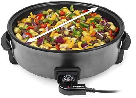 Tristar PZ-9145 Sauteuse électrique multifonction XXL, 40cm de diamètre, Thermostat réglable, 7.5 liters, Noir
