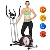 ANCHEER Elliptical Machine, Elliptical Exercise Machine with LCD Monitor and Pulse Rate Grips, Magnetic Smooth Quiet Driven for Home Using, Top Levels Elliptical Trainer (Black)