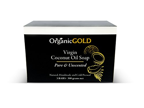 Organic Coconut Oil Soap PURE AND UNSCENTED Is the Best Natural Antibacterial Antifungal Cleanser and Deep Moisturizer for Sensitive Skin – Face and Body (PACK OF 3)