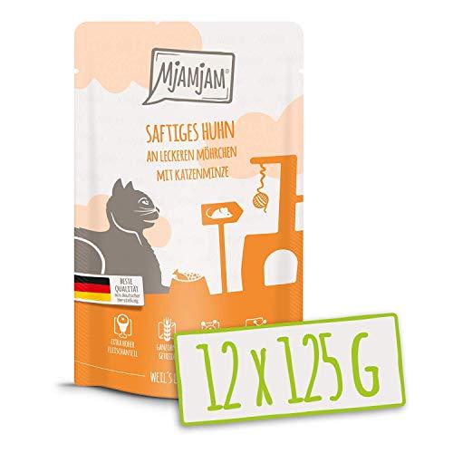 MjAMjAM – Premium Nassfutter für Katzen – Quetschie – saftiges Huhn an leckeren Möhrchen, 12er Pack (12 x 125 g…