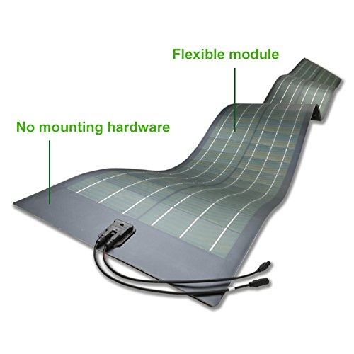 Unlimited Solar UFLX-100, Flexible Solar Panel 100 Watt 12 Volt, RV, Marine, Off-Grid, Made in USA (Green Solar Panels Roof With)