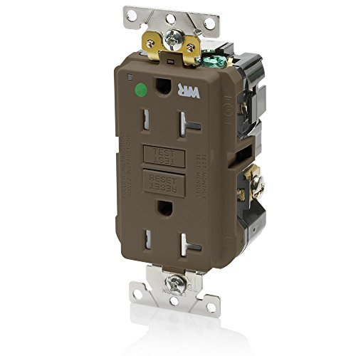 Leviton GFWT2-HG 20A-125V Extra-Heavy Duty Hospital Grade Tamper/Weather-Resistant Duplex Self-Test GFCI Receptacle, Brown, (Brown Hospital Grade Receptacle)