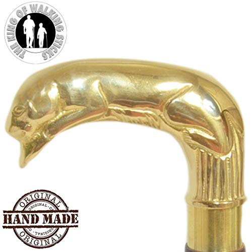 The King of Walking Sticks   Handmade Walking Stick Canes Only Handle   Animal Head Royal Look Premium 100% Brass Handles   Natural Golden Finish   Unique Gifts for Grandpa Grandma. ()