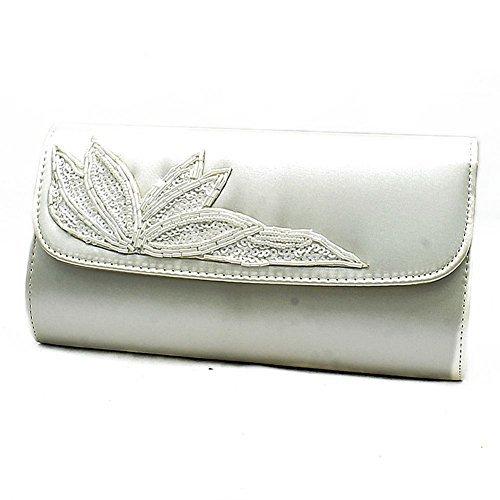Raso borsa clutch con con paillettes foglia dettaglio and tracolla - Avorio, 23 x 13 x 5 cms