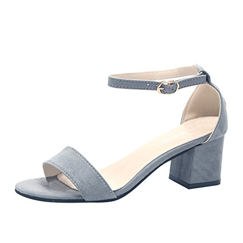 (ONLY TOP - Women's Strappy Chunky Block Low Heel - Formal, Wedding, Party Simple Classic Pump Grey)