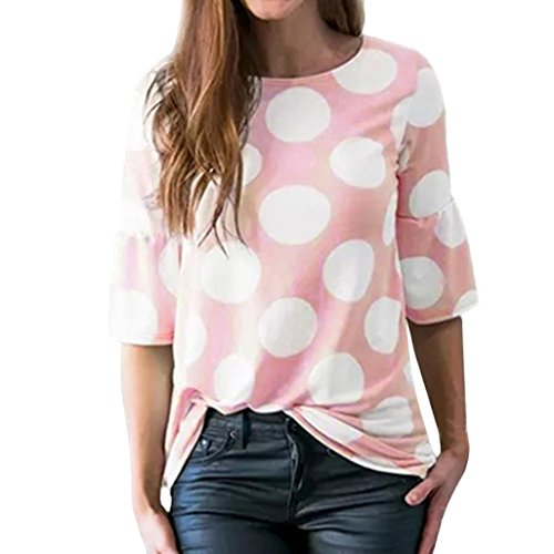 vermers Clearance Sale ! Women T-Shirt Fashion Polka-Dot Bell Blouse Flare Sleeve Tops