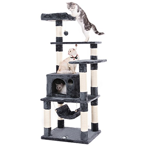 ndo Multi-level Cat Tower with Scratching Posts Kitten Furniture Play House Grey UPCT88G ()