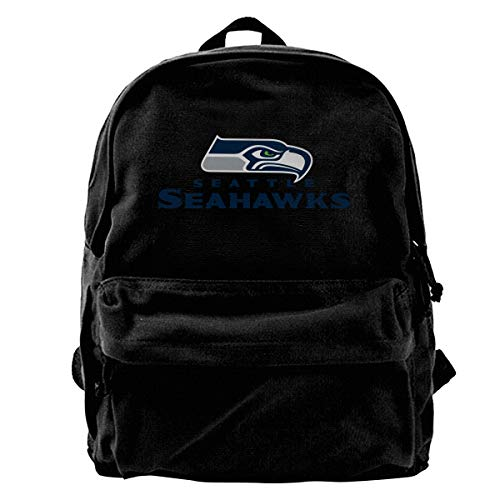 Jacoci Seattle Seahawks Black Canvas Backpack Thick Rucksack School Bag For Boys - Girls Hawk Backpack For