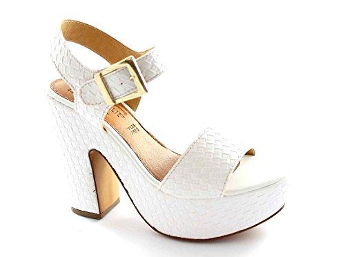 FOLLIE DIVINA 04-4041 sandalias de correa de talón blanco plateaux Bianco