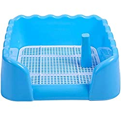 ZFH Pet Toilet Litter Box Potty Corner Bedding Trainer Removable Grid Easy to Clean No Residue Build Up Never Absorbs Odor and It's Completely Rust Free,Blue,Large