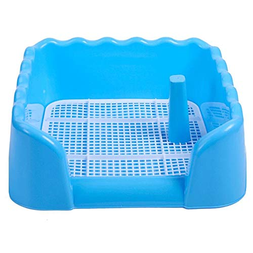 (ZFH Pet Toilet Litter Box Potty Corner Bedding Trainer Removable Grid Easy to Clean No Residue Build Up Never Absorbs Odor and It's Completely Rust Free,Blue,Large)