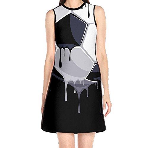 Women's Casual Sleeveless Short Dress - Soccer Black