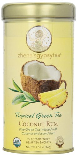 Zhena's Gypsy Tea, Coconut Rum Tropical Green Tea, 1.55 Oz, 22 Count Tea Sachets