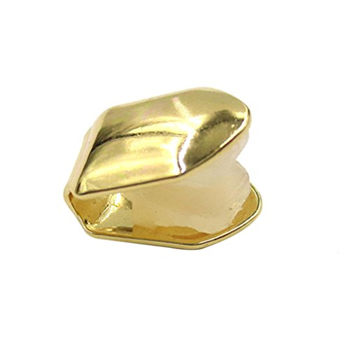 MuLuo Hip Hop Removeable Single Tooth Cap Solid Funny Fake Teeth Halloween Parties Golden single (Fake Gold Tooth Halloween)