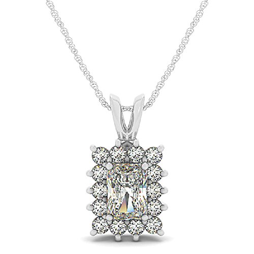 - 14k White Gold 0.50ctw. Diamond Semi-Mount Pendant for 8mm x 6mm Emerald Cut Center Stone
