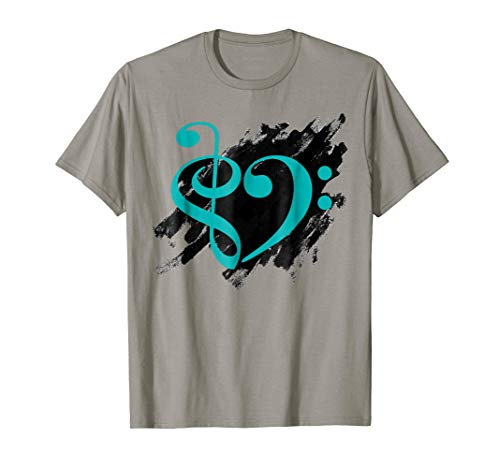 Treble Clef Bass Clef Turquoise Musical Heart Grunge Bassist T-Shirt