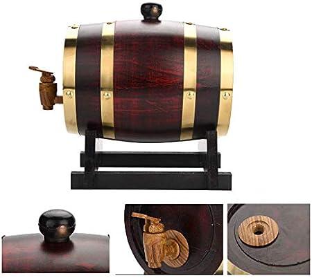 Barril de roble Barril de vino de roble, 1.5L, 3L, 5L, 10L Durable Madera vintage Barril de vino Dispensador de vino con, Usado para Cubo de almacenamiento Barriles de cerveza para Barril de envejecim
