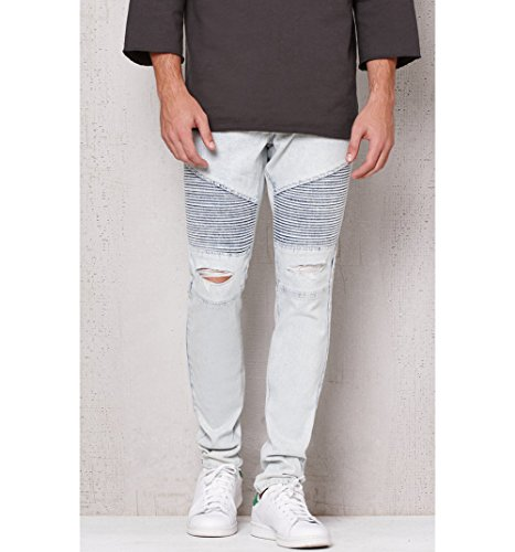 on sale Pacsun Mens Stacked Skinny Ripped Moto Light Wash Stretch Jeans 7ecf9b876086