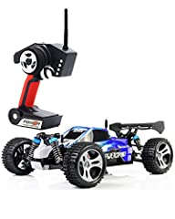 1:18 full proportional off - road vehicle, powerful motor, maximum speed is up to 32MPH+ . High speed stunt rc suv buggy.  4 wheel independent suspension system is adopted with a helical spring with high resilience for each wheel, which creat...