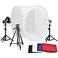Neewer Table Top Round Photography Studio Tent Lighting Kit:32x32/80x80cm Round Light Folding Tent+Colored Internal Backgrounds+18/45cm Light Stands+Day-Light Bulbs+Adjustable 50/127cm Tripod