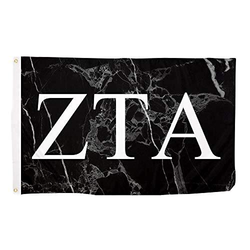 Zeta Tau Alpha ZTA Dark Marble Sorority Letter Flag Banner 3 x 5 Sign Decor