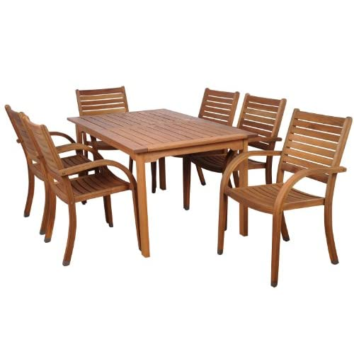 Amazonia Arizona 7-Piece Eucalyptus Rectangular Dining Set