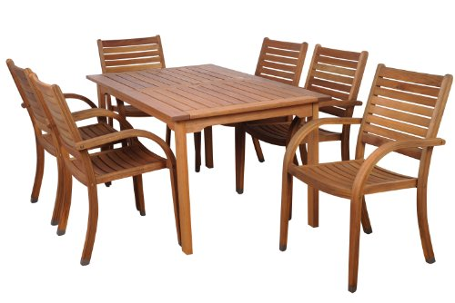 amazonia arizona 7 piece eucalyptus rectangular dining set home patio and furniture. Black Bedroom Furniture Sets. Home Design Ideas