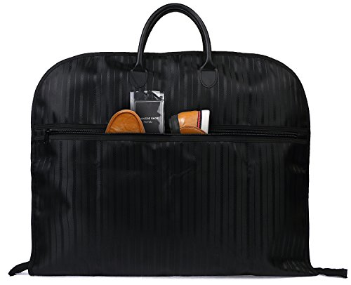 Nornou Foldable Travel Garment Bag Water-resistant Suit Dustproof Bag With Metal Hanging Hook Black from Nornou