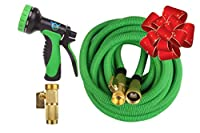 "Expandable Water Hose - 50ft Expanding Garden Hoses - Best Triple Flexible Retractable Latex Core & Strongest Lightweight Fabric - 3/4"" Solid Brass Fittings - Free Metal 10 Function Spray Nozzle"