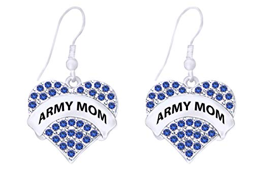 Mothers Day Jewelry Gifts Round Shape Simulated Blue Sapphire Army Mom Heart Dangle Earrings In 14k White Gold Over Sterling ()