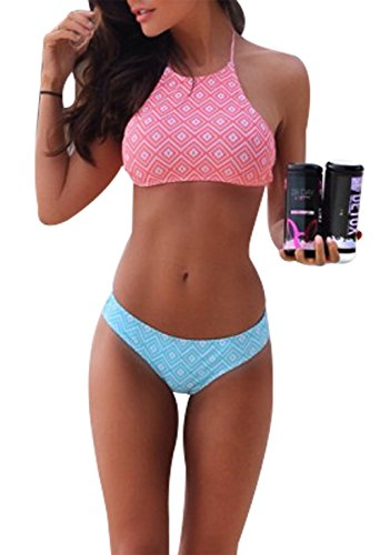 ter Padded Two Piece Bikini Set Retro Plaid Low Waist Beach Swimwear Bathing Suit Size M(US 2-4) (Pink) ()