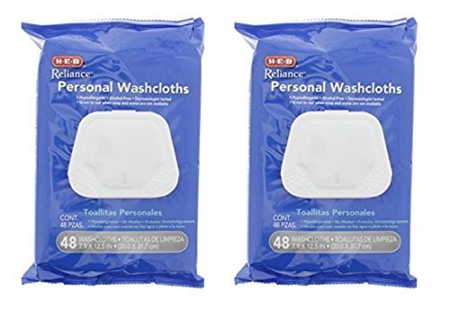 Pre-moistened Hypoallergenic Personal Adult Disposable Washcloths - 2-Pack 48 count (96 Total Wipes)