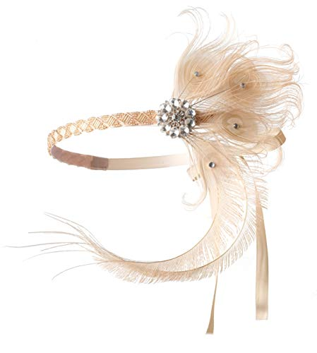Zivyes 1920s Accessories Peacock Feather Headband Women's Costume Headwear Hat Accessories Flapper Wedding ()