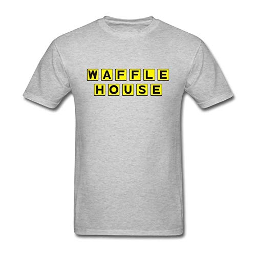 Men's Casual Waffle House Tee T Shirt Short Sleeve O-Neck Cotton T-Shirt Sports Tops Plus Size Tshirt for Teens Grey Large