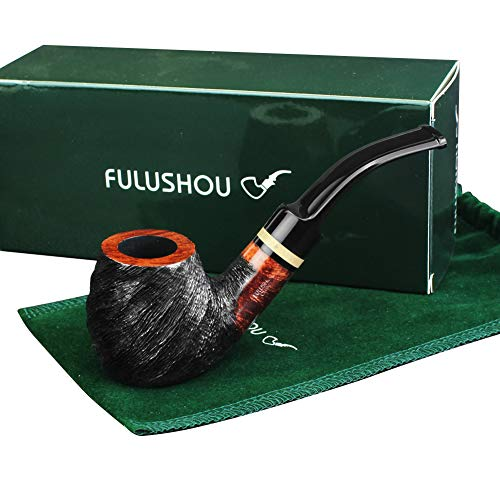 - FULUSHOU Mediterranean Briar Wood Tobacco Pipe, Simple Atmosphere Tobacco Pipe - Desktop Carved Pipe